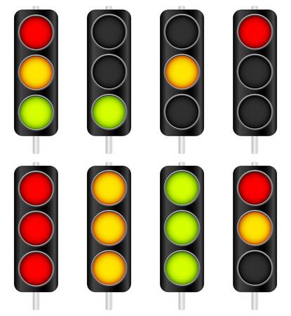 Vector Illustration of Traffic Light  Traffic Lamp set. Vector Illustration.