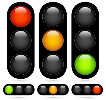 Vector Illustratie van Traffic Light  Verkeer Lamp set. Vector Illustratie.