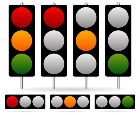 trafic stop: Eps 10 Vector Illustration of Traffic Light  Traffic Lamp set. Vector Illustration.