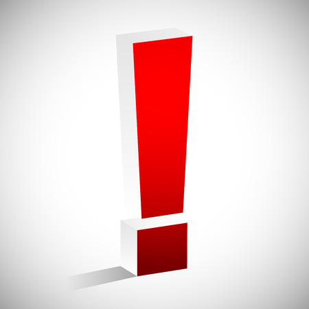 interjection: Vector Illustration of 3D Red Exclamation Mark.