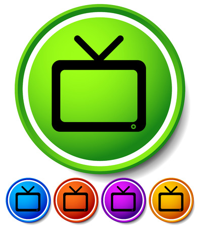 motion picture: Vector Illustration of Modern icon with television symbol with antenna. Vector Element for Home entertainment, TV channel, TV show, tube, motion picture, broadcasting concepts.