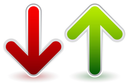 Vector Illustration of Red, Green Down and Up Arrows. Growth, Decline, Raise, Decrease.
