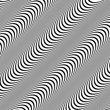 snaky: Vector Illustration of Black and White Pattern with Wavy Lines. Illustration