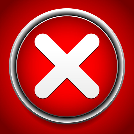incorrect: Vector Illustration of Red cross, red X icon, button - Close, incorrect, quit.