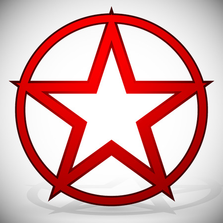 pentacle:  Vector Illustration of 5-pointed Star Illustration