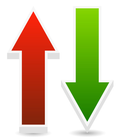 up and down: Vector Illustration of Green and Red Up, Down Arrows