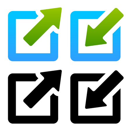arow: Vector Illustration of Shrink  Enlarge or Minimize  Maximize Icons