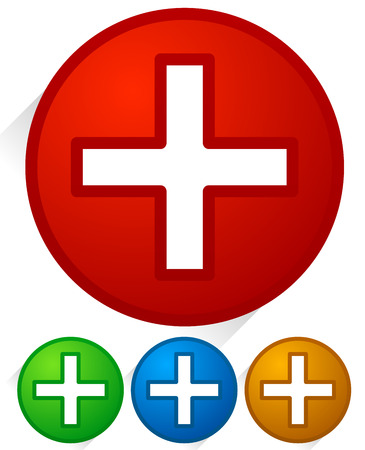 addendum: Vector Illustration of White Cross Icons with Diagonal Shadows