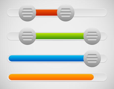 Vector Illustration of Slider  Adjuster UI Elements With Knobs and Loading, Progress Bar Illustration