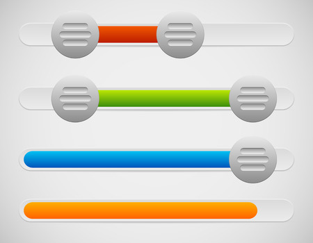 Vector Illustration of Slider  Adjuster UI Elements With Knobs and Loading, Progress Bar Ilustração