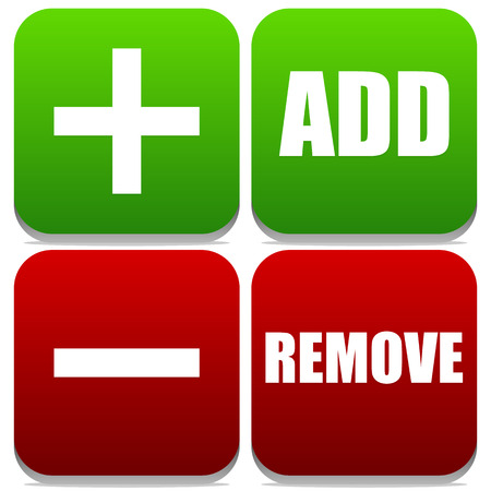 exclude: Vector Illustration of Add and Remove Buttons with Labels and symbols Illustration