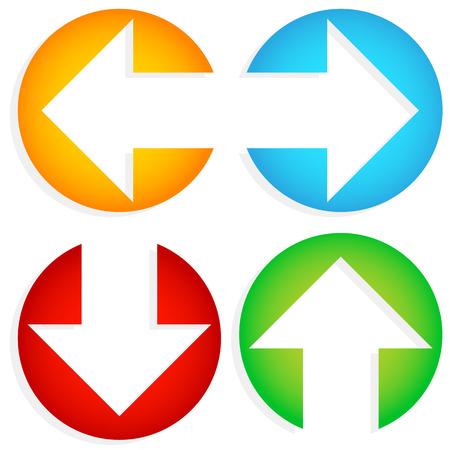 다채로운 왼쪽 오른쪽, 위쪽 - 아래쪽 화살표 집합의 벡터 일러스트 레이 션 서클에서 잘라 내기