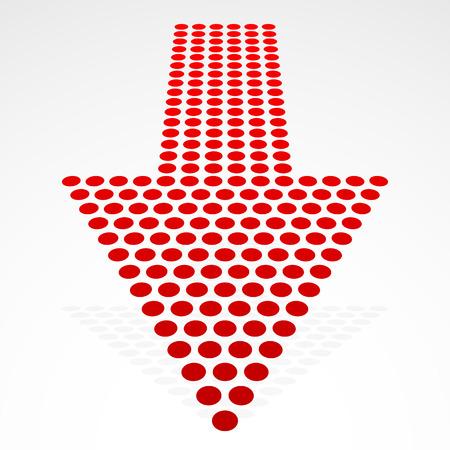 encogimiento: Ilustraci�n vectorial de un punteado de la flecha hacia abajo en Perspectiva