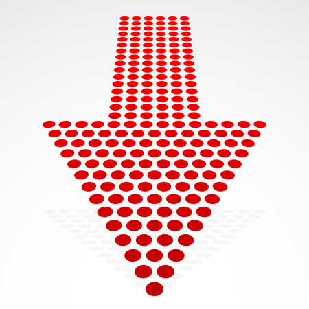 shrinkage: Vector Illustration of a Dotted Down Arrow in Perspective