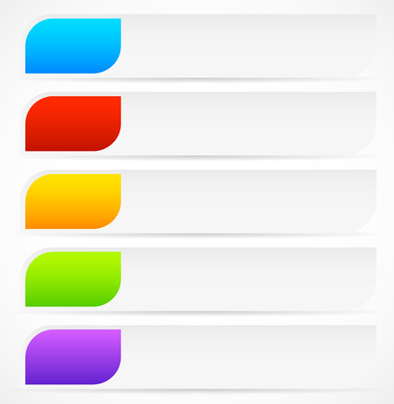 Vector Illustration of Horizontal Button, Banner Backgrounds with Colorful Inserts