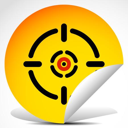 Vector Illustration of Cross hair, target mark on peeling sticker