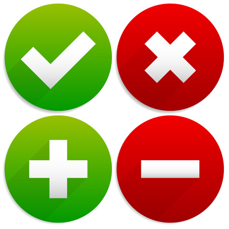 Vector Illustration of Simple Checkmark, Cross and Plus, Minus Signs / Icons