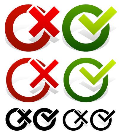 Vektor-Illustration der ein Häkchen und Kreuz-Set