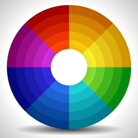 circulos concentricos: Ilustración vectorial de una rueda de color  Color Palette Circular Vectores