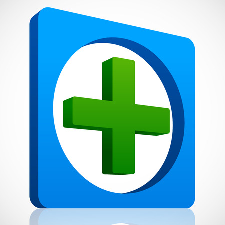 polyclinic: ector Illustration of 3D Cross Icon in Green and Blue. First aid, Healthcare.