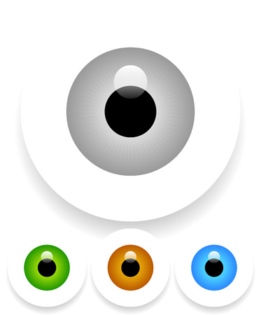 Vector Illustration of Eye(s) with Shadow(s) Fading Into White Vector