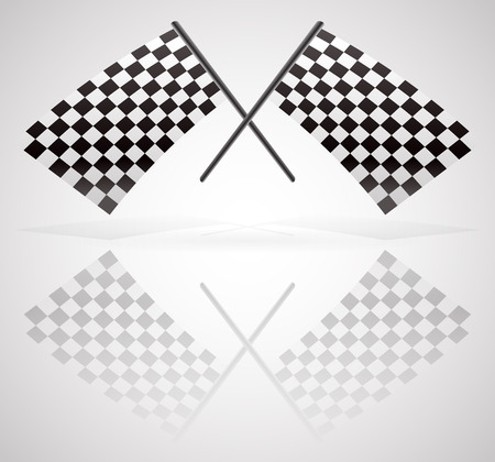 Vector Illustration of Crossed Checkered Racing Flags Vector