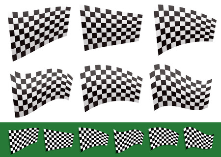 Vector Illustration of Isolated Checkered Flags with Different distortions
