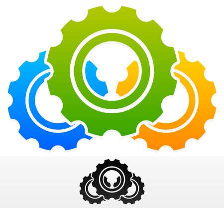 rackwheel: Vector Illustration of Gears Composition. Colorful and Black Version
