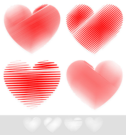february 14th: Vector Illustration of Sketchy, Doodle Heart Set