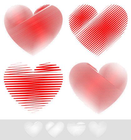 haert: Vector Illustration of Sketchy, Doodle Heart Set