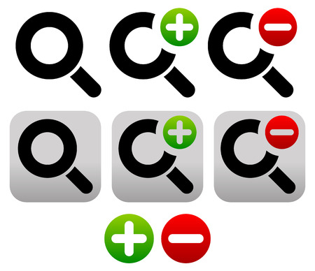 zoom out: Vector Illustration of Magnifier Symbol  Icon Set. Zoom In, Zoom Out Icons