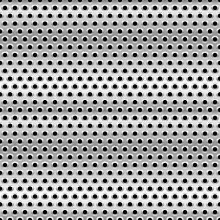 durability: Eps 10 Vector Illustration of Perforated Metal Background. Punched Metal with Circles.