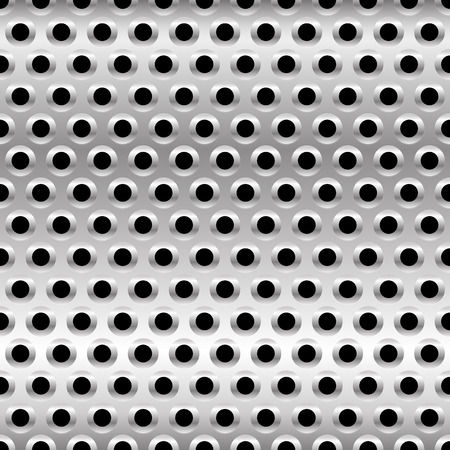 punched:  Vector Illustration of Perforated Metal Background. Punched Metal with Circles.