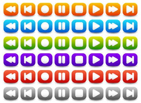 tracklist: Vector Illustration of Multimedia, Audio - Video Player Control Buttons in Various Colors