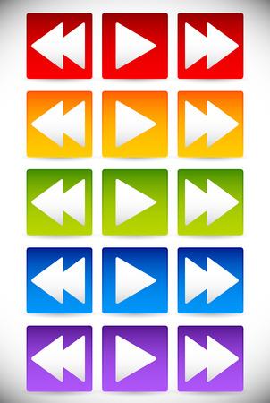 multi media: Illustrazione vettoriale dei Colorful indietro, Giochi e Forward - Fastforward pulsanti. , Audio, tasti di controllo video tracklist Multimedia Vettoriali