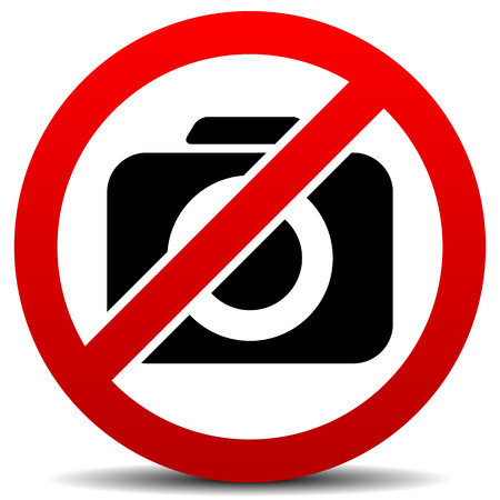 no photo: Vector Illustration of Crossed Camera Symbol, No Photo Sign with Rounded Camera