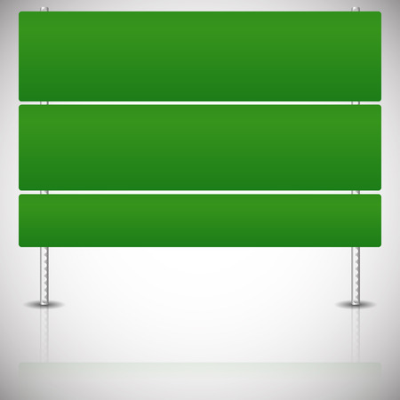 way bill: Eps 10 Vector Illustration of an Empty, Blank Green Road Sign on Metal Poles Isolated on White Illustration