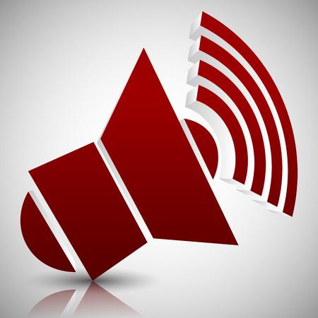 mega phone: Vector Illustration of Red 3D Speaker Icon