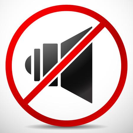 ruido: Ilustración del vector del altavoz con la prohibición Sign. Silencio, no hay sonido.