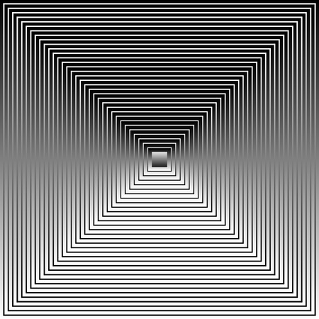 surrealistic: Vector Illustration of Grayscale, Black and White Squares with Gradient Fills Blended, Forming a Pyramid Like Image