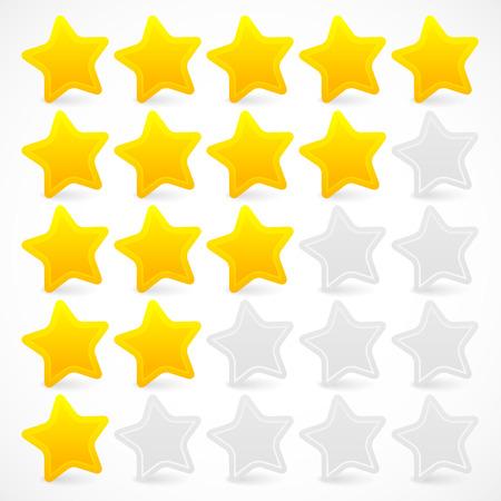 star rating: Illustrazioni vettoriali di valutazione delle cinque stelle