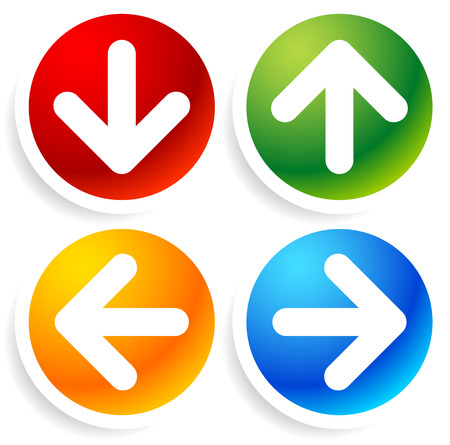 Vector Illustration of Bright, colorful Arrow Icons