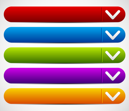 drop down: Vector Illustration of a Colorful Button Set With Arrows - Drop Down buttons Illustration