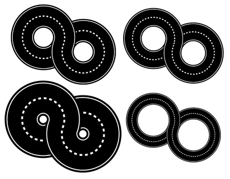 asphalt paving: Vector Illustration of 8 Shaped Roads - Thiner and Thicker Versions