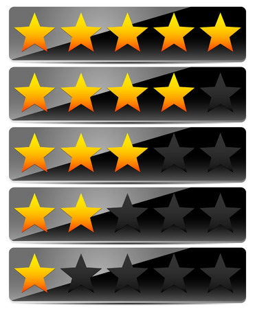 value system: Vector Illustration of Star Rating System on Glossy, Black Panels