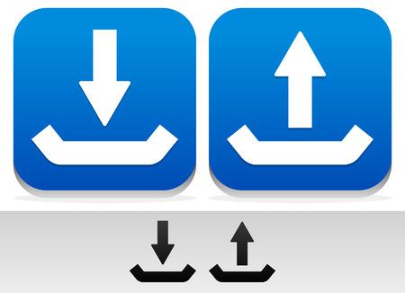 Eps 10 Vector Illustration, Upload, Download Buttons and Symbols Illustration