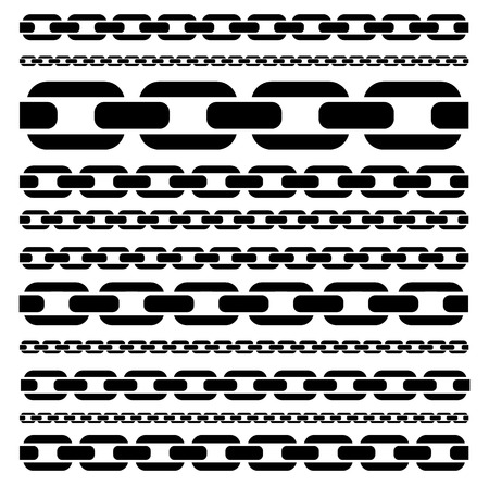 Chain Silhouettes Isolated, Eps 10 Vector Illustration