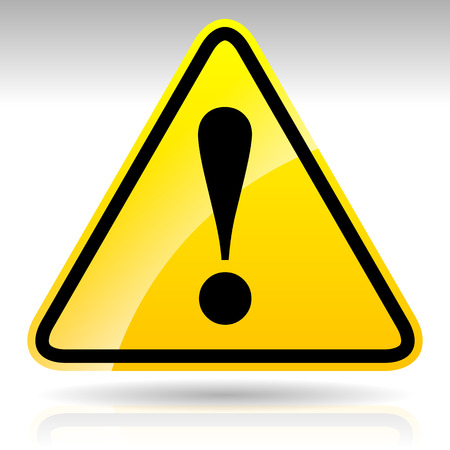 warnem      ¼nde: Gelbes Ausrufezeichen Zeichen - Vorsicht, Warnung Achtung Schild, EPS-10 Vektor-Illustration