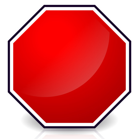 red sign: Blank stop sign, Eps 10 Vector Illustration