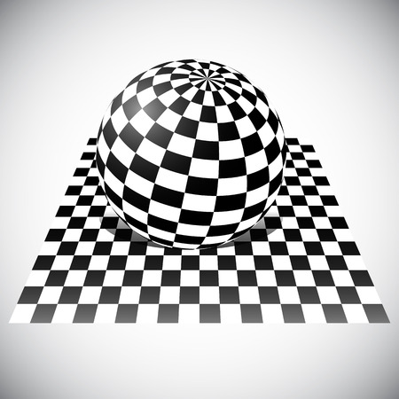 surrealistic: Checkered Sphere on Checkered Plane. 3D Abstract Vector